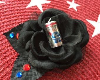 PBR PABST Blue Ribbon Hair Rose Flower ROCKABILLY Pin Up Girl