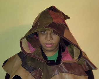 Patchwork Leather Hood
