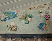 Altered Art Box - Trinket Box - Jewelry Box - Storage Footed Box - Home Decor - Vanity Storage