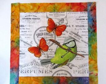 """Spring Bird Butterfly Fabric Quilt Block 15"""""""