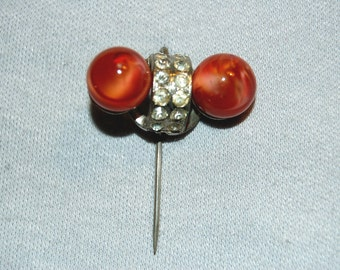 Vintage / Antique / Hat Pin / Czechoslovakia / Rhinestone / Marble / Stick Pin