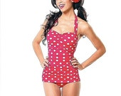 SALE NEW Mitzy Vintage Inspired Maillot, One Piece Swimsuit, Red , White Dots