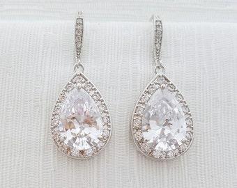 Bridal Dangle Earrings Wedding Jewelry Silver Large Cubic Zirconia Pear Drop Earrings Bridesmaid Earrings Wedding Earrings, Ella