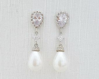 Bridal Pearl Earrings Wedding Jewelry Cubic Zirconia Posts Bridal Earrings White Ivory Pearl Teardrop Earrings, Vivian