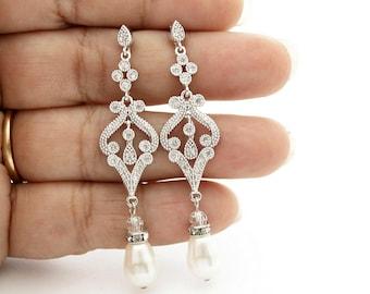 Pearl Wedding Jewelry Vintage Style Wedding Earrings Pearl Wedding Earrings Bridal Jewelry Cubic Zirconia Long Pearl Earrings