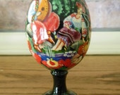 Vintage Ukrainian Black Egg on Pedestal Rooster, Man & Woman, Fertility Pysanke