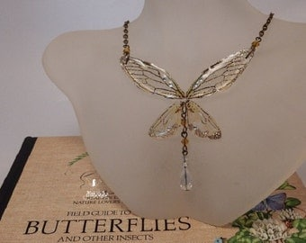 Butterfly Faerie Wing delicate necklace with amber crystals and vintage bronze chain
