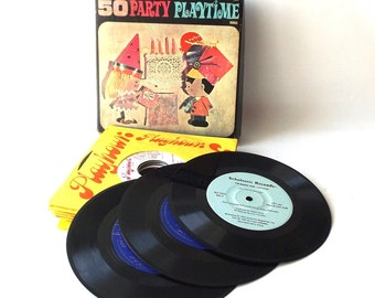 vintage 70's childrens record collection in a box set 45's rpm 50 party playtime songs kids childs vinyl music retro paper sleeves kitsch