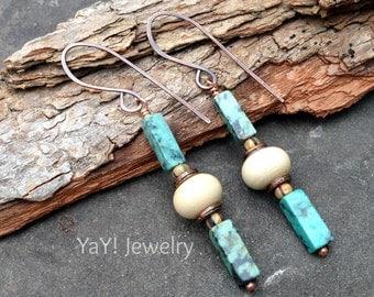 Bohemian Vibe Earrings, Tribal Earrings, Dangle Earrings, Turquoise Earrings, Copper Earrings, Boho Chic, Lampwork Earrings, YaY Jewelry