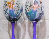 Custom Order for Zik  Mermaid Wine Glasses Male Female Hand Painted Set