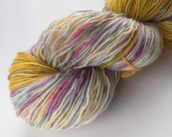 Hand dyed yarn, sock weight, wool, 438 yds, Experiment
