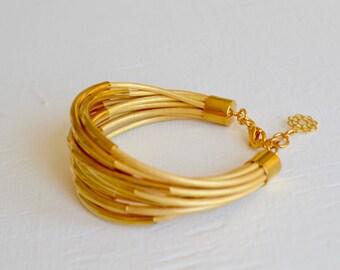 Gold Leather Cuff Bracelet with Gold Tube Beads - Multi Strand Bangle Women's Bracelet ... by  B A L O O S