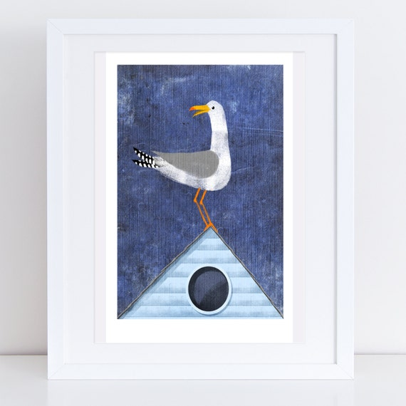 Seagull On The Roof - Signed Print
