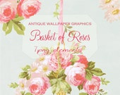 Basket of Roses PNG Clipart Tattered Vintage Antique Wallpaper Roses