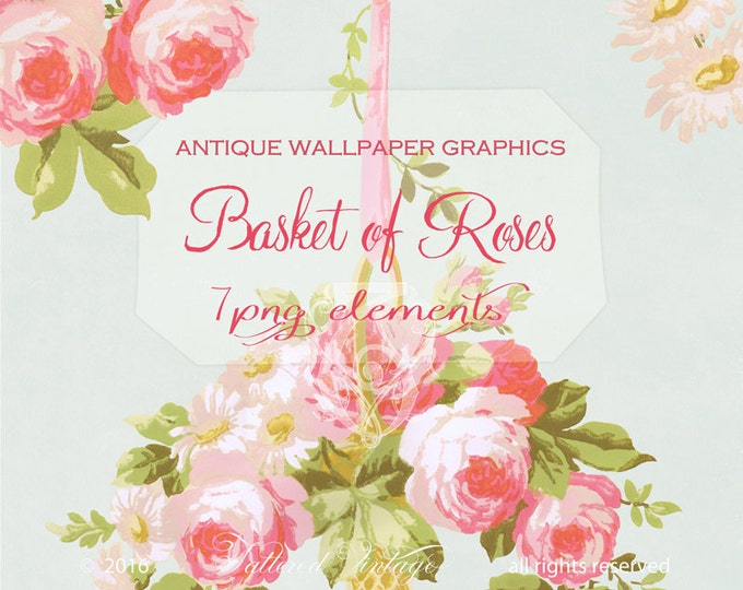 Basket of Roses PNG Clipart Tattered Vintage Antique Wallpaper Roses