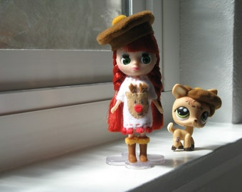 Petite Blythe, Mini Pullip, Little Dal Fashion Doll Clothing; Rudolph Red-Nosed Reindeer Dress