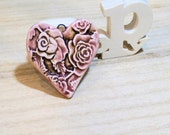 pink romantic roses heart pendant ceramic  poppy in the sky hig fired jewel
