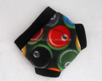 Small Fleece Cloth Soaker Diaper/Underpants Cover in Billiards Ready to Ship, Green Black Red Orange Blue Yellow Vegan