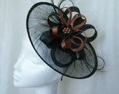 Black Sinamay Saucer Curl Feather and Copper  Pearl Cecily Formal Wedding Derby Ascot Fascinator Hat   Made to Order