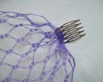 Cadbury Purple Vintage Waffle Weave 1940's - 1950's Style Birdcage Bandeau Brides Wedding Bridal Veil - Comb Attachment