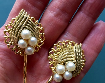 Vintage Pearl Hair Pins Bobby Pins Bridesmaid Wedding Prom Art Deco Gold Doodaba