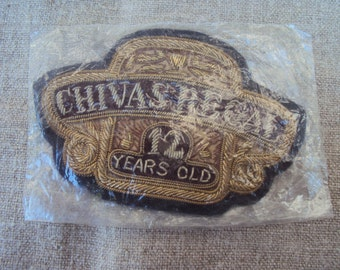 Vintage Hand Embroidered Gold Bullion Emblem Metallic Thread Patch Insignia Chivas Regal 12 Years Old