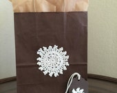 Decorative Gift Bag with Vintage Crocheted Flower, Brown Gift Bag with Ecru Flower, 8x10x4 Gift Bag, with option of coordinating tag