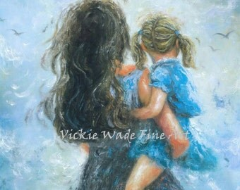 Mother Blonde Daughter Art Print , mother paintings, mom, blonde girl, mother's day gift, girls room, blue wall decor, Vickie Wade