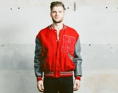 Mens Letterman JACKET . Vintage 1970s Bomber 70s Red Varsity Leather Sleeves Sports Coat Outerwear . Large Extra Large