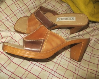 RETRO vintage womens patchwork leather plateform slipon sandals heels sz 8
