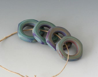 Faceted Southwest Rings - (4) Handmade Lampwork Beads - Lavender, Blue, Green - Etched, Matte