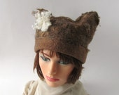 Felted hat  Wool Hat Unisex Cat ear hat,  felted hat  Brown Mustard  wool hat, warm winter hat, Warm felted hat
