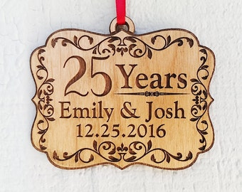 Personalized 25 Years Anniversary Parents Grandparents Wood Ornament Custom with Year for 30th 40th 50th Couple Christmas Wedding Gifts