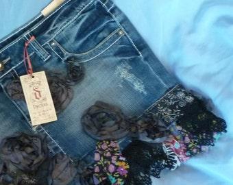 Black BoHo Skirt, Blue Jean Skirt, Altered Skirt, Tattered Skirt by gothB4play