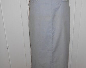 Vintage 1950s Baby Blue Pinstripe Cotton Skirt