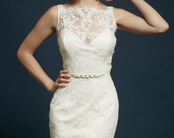 Size 6 Sample for Sale! Madison dress, corded lace, illusion neckline, pencil skirt