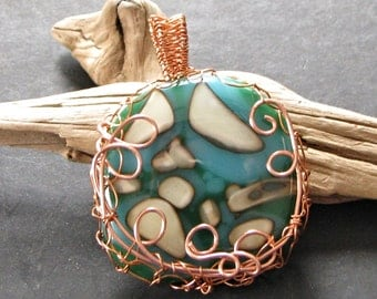 Pebbles of Earth Fused Art Glass Pendant Copper Wire Wrapped