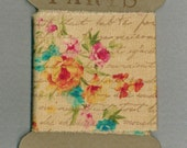 French script,yellow ,pink, turquoise trim, tea dyed ,floral fabric ribbon, craft trim ,hand stamped ,scrapbook embellishment,Paris 1288 48