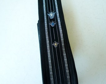 Vintage 50s 60s Eames Era Rockabilly Skinny Tie 3 Embroidered Crowns Acetate & Rayon