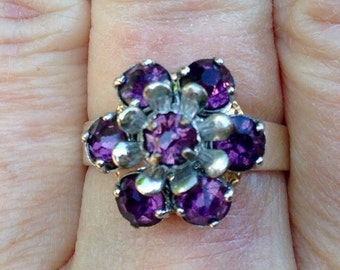 PURPLE RHINESTONE RING, Upcycled Jewelry, Flower Shape, From Vintage Earring, Repurposed Jewelry, Adjustable Band, Under 10 Dollars
