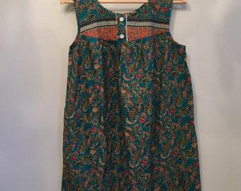 Turquoise and Orange Indonesian Batik Tent Dress • Cotton Dress • Batik Dress • Everyday Dress • Free Size