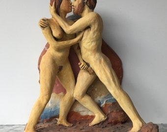 Erotic Art Sculpture Lovers, Ceramic Figures Embrace, Freestanding or Wall Hanging, Hand Job, Mature NSFW