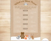 Woodland Baby Shower What's in Your Purse Game - PRINTABLE INSTANT DOWNLOAD - Gender Neutral Baby Shower Game, Winter Woodland Fox Deer Bear