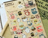 Funny Sticker World Bubo OWL scrapbooking stickers