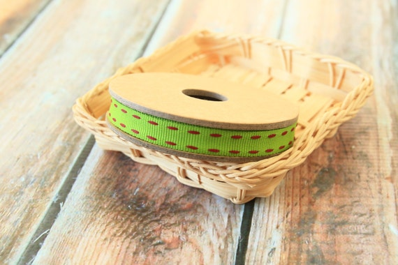 Turkish LIME GREEN Vibrant Stitched Grossgrain woven ribbon