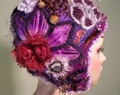 HEADPIECE AS ARTFORM - Wearable Fiber Art, Art-Deco Retro Style, One-Of-A-Kind, Exquisetely Decorated, Top Fashion Houses Trends