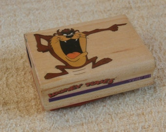 Taz, Tasmanian Devil Rubber Stamp, Vintage 1991 Rubber Stampede Looney Tunes Wooden Back Stamper