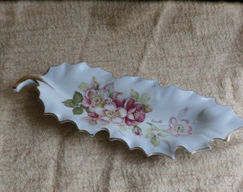 Vintage Leaf Dish with Flowers, Signed Rene, No 8020