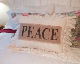 Pillow Slip Cover Pillow Sham  Burlap Muslin Pillow Sham PILLOW CASE w/ peace design