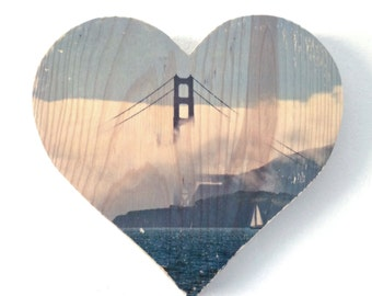 "Afternoon Fog: Golden Gate Bridge - 9x8"" Heart Distressed Photo Transfer on Wood"